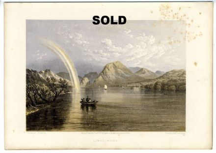 1859 LOWESWATER Lake District ANTIQUE LITHOGRAPH PRINT J. B. Pyne